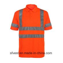 Camisola de Polo Reflexivo de Segurança de Trânsito Classe 3 com V Neck En ISO