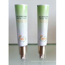 Alumínio laminado tubo de creme protetor solar com cabeça de bomba de 25mm