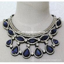 Lady Fashion Modeschmuck Blau Glas Kristall Anhänger Halskette (JE0207)