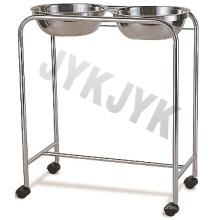 Carrito de acero inoxidable con doble lavabo