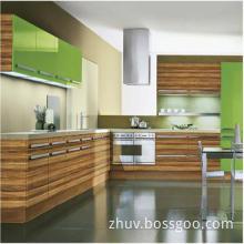 High Gloosy Wooden Grain Kitchen Cabinet