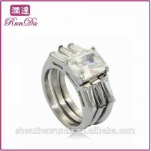 Китай горячие продажи 3 части из нержавеющей стали алмазов кольца ювелирные изделия