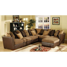 Living Room Chenille and Leather Sofa Stationary Sectionals with Ottoman