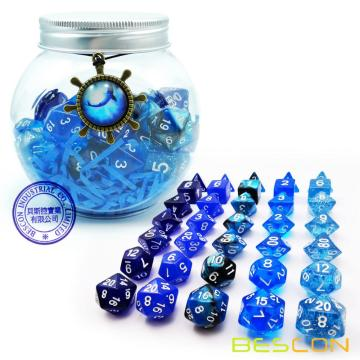 Bescon RPG Dice Set 35pcs Ocean Blue Set, DND Role Playing Game Dice 5X7pcs