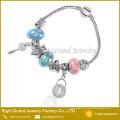 Damen Lock Key Metall Armband großes Loch Perlen Schlange Armband
