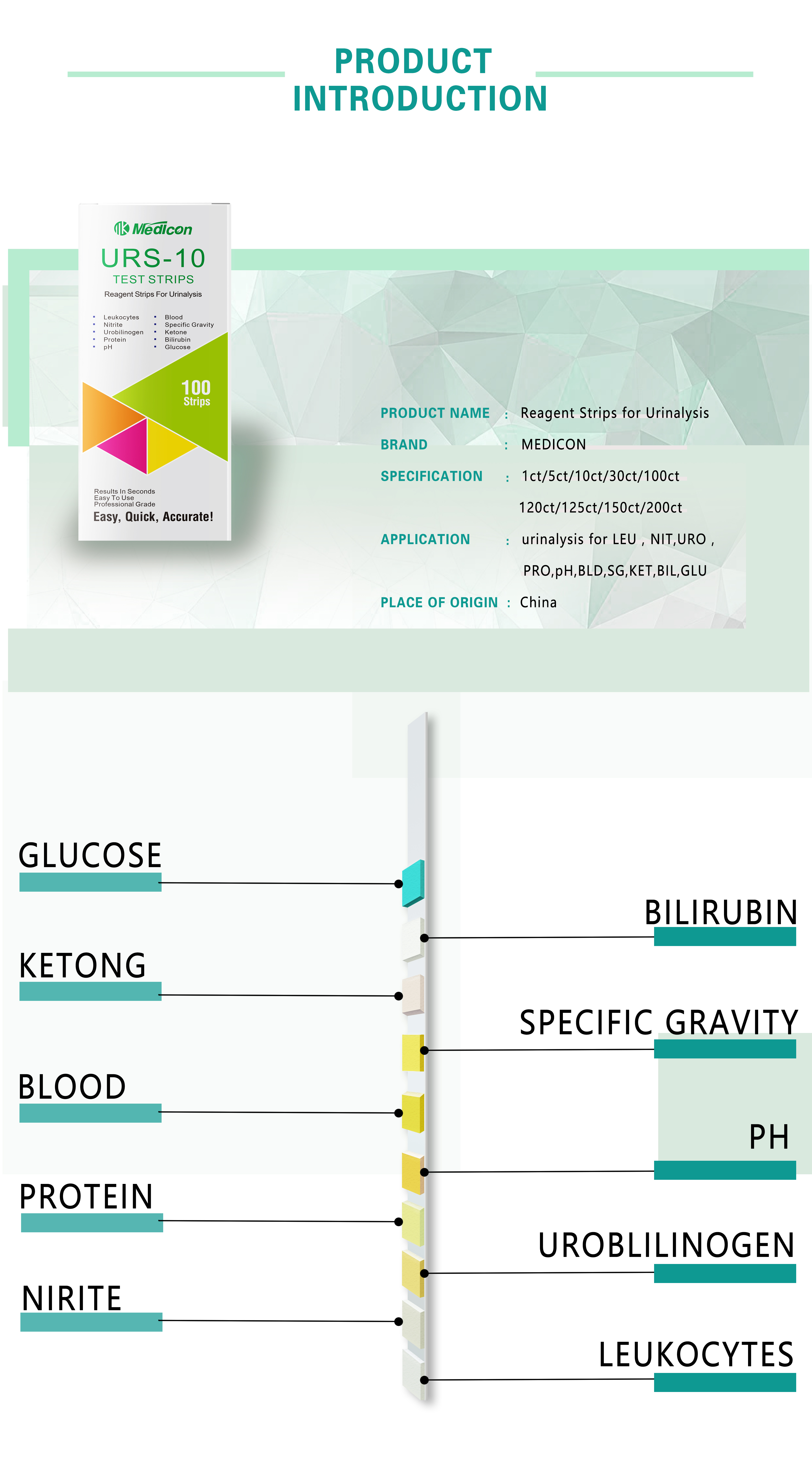 Urine Test Strips 10 Parameter