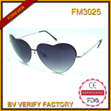 Trendy Style Heart Shape Metal Sunglasses (FM3025)