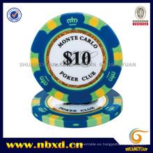 Chip de póquer de arcilla de Monte Carlo de la corona de 3 tonos con la etiqueta engomada del ajuste del oro (SY-E36)