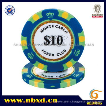 14G 3-Tone Crown Monte Carlo Clay Poker Chip avec Gold Trim Sticker (SY-E36)