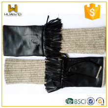 leather long gloves for women sheepskin and cashmere Lined