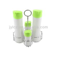 set para 4 piezas de aceite de cerámica y dispensador de vinagre con tapa de silicona