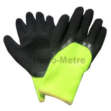 NMSAFETY thermal latex gloves knit yellow acrylic liner 3/4 coated black foam latex gloves/working glove