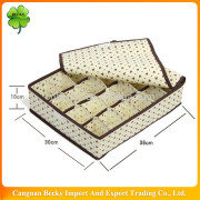 Wenzhou cloth underwear/bra beige non woven folding storage box with lid open for home use