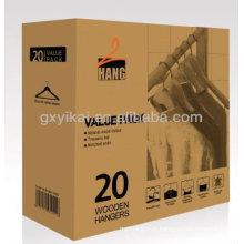 Cabide de roupa de madeira para a camisa com entalhes de U e barra com pacote do valor