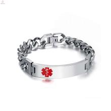 Bracelet en caoutchouc Chunky argenté en acier inoxydable bijoux diabétiques