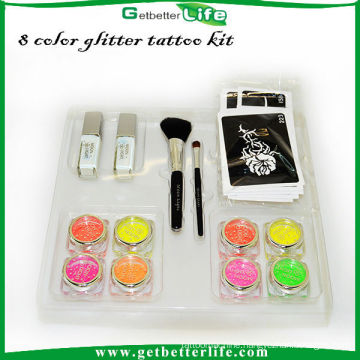 2015 getbetterlife Professional temporary glitter tattoo kit,glitter tattoo set Body Art Temporary Tattoo