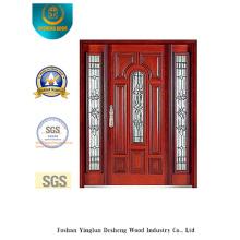 Puerta de seguridad de estilo clásico con vidrio y hierro (B-9008)