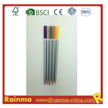Lápis de madeira de barril de prata com cor mergulhada