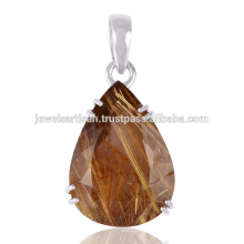 Rutilated Quartz 925 Sterling Silver Pendant Jewelry