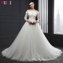 Сл-041 с длинным рукавом с плеча кружева бальное платье свадебное платье 2016