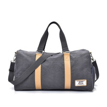 Custom Logo Men Women Canvas Travel Duffle Tote Bag, Weekend Bag with Shoe Compartment