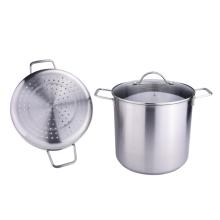 Olla de vapor de 2 capas con utensilios de cocina con tapa de vidrio
