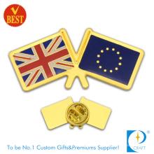 Venta al por mayor de China estampado de oro de chapado en oro bandera del país insignia de pin en alta calidad