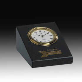 Crystal paperweight with clock