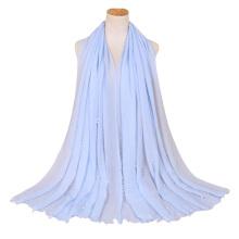 Las mujeres más vendidas musulmán viscose bufanda hijab borla chal mujeres musulmán perla cosida algodón arruga Hijab bufanda