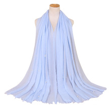 Best selling women muslim viscose scarf hijab tassel shawl women muslim pearl sewed cotton Crinkle Hijab scarf
