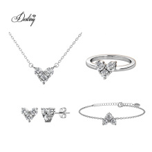 Finest Crystal Women Wedding Jewelry Troika Heart Set
