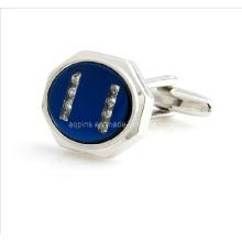 Metal Esmalte Cuff Links com Diamante Pequeno