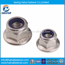 Stainless steel nylon lock nuts with flange head