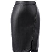 Kate Kasin Mujer de cuero sintético de metal completo con cremallera Hips-Wrapped Bodycon lápiz falda KK000607-1
