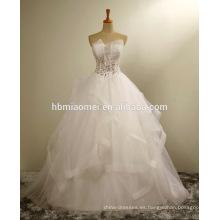 Corea de lujo ver a través del hombro 2016 vestido de novia con encaje