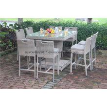 Jardin extérieur rotin osier Big Bar Table et chaise