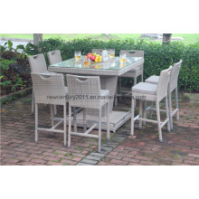 Outdoor Garden Rattan Wicker Big Bar Table and Chair