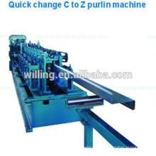 Linha de produção de Purlin de aço intercambiável Shape C / Z
