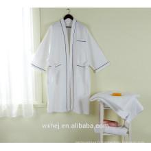 Robe de spa en kimono gaufré poly coton pour hommes et femmes