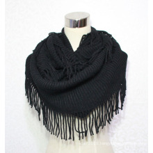 Women Fashion Acrylic Knitted Winter Infinity Fringe Scarf (YKY4394)