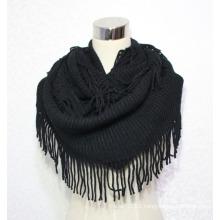 Women Fashion Acrylic Knitted Winter Infinity Fringe Scarf (YKY4394)