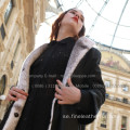 Winter Reversible Cross Mink Fur Women Overcoat