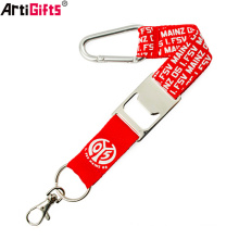 Wholesale Personalised Custom polyester short lanyard strap with bottle opener