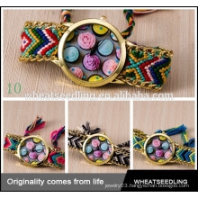 latest gift cupcake print fabric multiple strap vogue watches braided watch