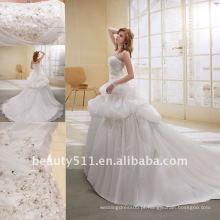 Astergarden Fashion Beading A-line organza de flores Veils como presente Noblest Vestido de noiva vestido de erva daninha AS-004