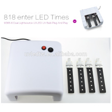 2016 hot selling White UV Lamp 36W 220-240V Gel Curing Nail Art (EU Plug) with 4pcs 365nm UV Bulb+1pcs Plug