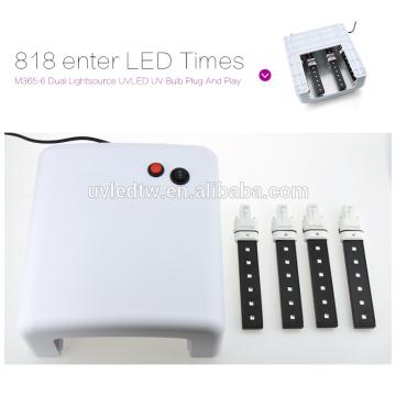 2016 hot selling White UV Lamp 36W 220-240V Gel Curing Nail Art (EU Plug) with 4pcs 365nm UV Bulb+1pcs Plug