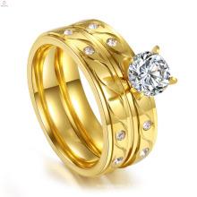 Gros bijoux en or mariage personnalisé Couple Engagement en acier inoxydable Cz ensembles de bague