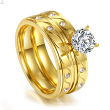 Wholesale Gold Jewelry Custom wedding Couple Engagement Stainless Steel Cz Ring Sets