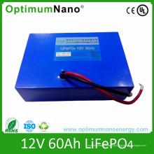 Bateria de 12V 60ah LiFePO4 usada para UPS, poder traseiro